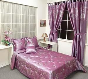 couvre lit rose et argent 9 pi ces couvre lit matelass 2 personnes taies coussins rideaux. Black Bedroom Furniture Sets. Home Design Ideas