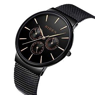ALPS Herrenuhren Wasserdicht Dünne Datumskalender Analog Quarz Uhren mit Edelstahl Mesh Armband 006