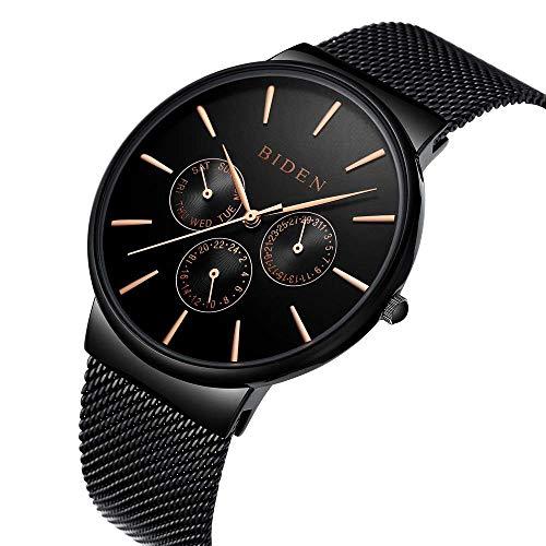 b72f3d57c Reloj de hombre, relojes, acero inoxidable negro clásico lujo Business  Casual relojes.