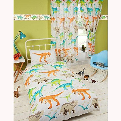 Juego de funda de edredón y funda de almohada para cama individual con diseño de dinosaurios