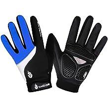 Hombres/Mujeres Guantes de ciclismo Mountain Bike Guantes Carreras de carretera guantes de ciclismo luz silicona Gel Pad Guantes de ciclismo dedo completo, color azul, tamaño XL