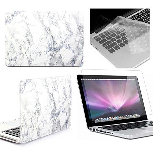 MacBook, rinbers ®-Custodia rigida rivestita in gomma, effetto marmo bianco satinato _rigida con stampa-Custodia sottile (Rivestita Di Gomma Di Caso)