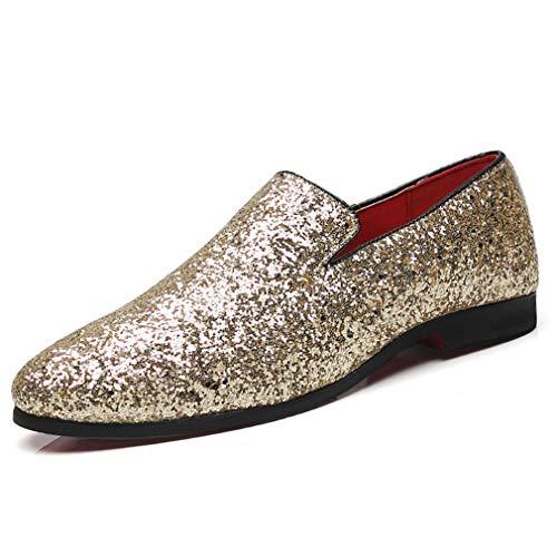 Metallic-spitze-kleid (YAN Herren Schuhe Pailletten, Mikrofaser Kleid Schuhe Mode Spitz Schuhe Nachtclub Freizeitschuhe für Hochzeit & Abend Gold Silber Schwarz (Farbe : Gold, Größe : 46))
