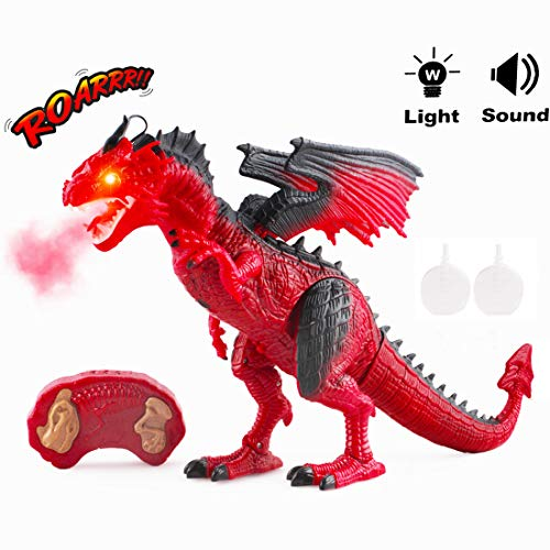 deAO RC Dragón Inteligente Robot Teledirigido con Luces, Sonidos y Efecto de Humo Juguete Electrónico Multifuncional (Rojo)