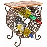 Cómoda estantería estante de vino botellero de madera y hierro estilo vintage redondo rustico shabby industria para baño pasillo cocina sala