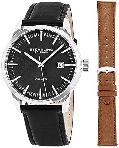 STUHRLING ORIGINAL Classic Swiss Kleid Armbanduhr für Herren, Edelstahl Quarz mit echtem Leder Strap (schwarz)