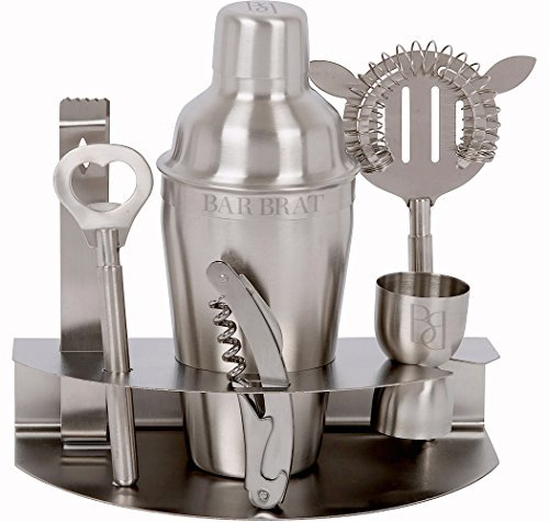 Bar Set & Cocktail Shaker Set by Bar Brat / 7 Piece Stainless Steel Drink Martini Shaker / Bonus Jigger & 110 Cocktail Recipes (ebook) Included by Bar Brat