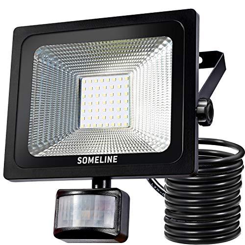 50W LED Flutlicht IP66 wasserdicht Fluter für Sicherheitsleuchten im Außenbereich mit Bewegungssensor-Licht PIR-Außenleuchten SOMELINE mit Sensor[Energieklasse A ++]