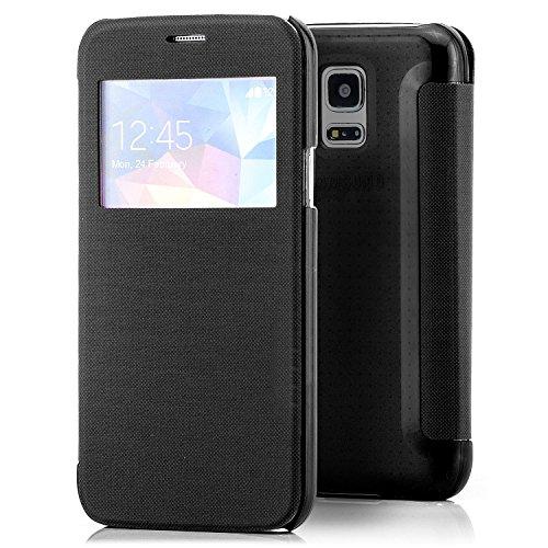 Coque Apple iPhone 6 6S [Saxonia] Etui Housse Protection Ultra Mince Case Flip View Cover avec Fenêtre Pink Bleu foncé