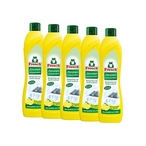 5x Frosch Zitronen Scheuermilch 500 ml - Reinigt Bad und Küche kraftvoll