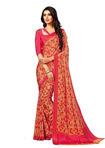 Takshaya Sarees Designer Casual Wear Printed Pink Crepe Saree By Takshaya