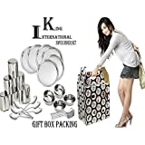 King International Stainless Steel Silver Diwali,Dhanteras Special Dinner Set,Set Of 30 Pieces