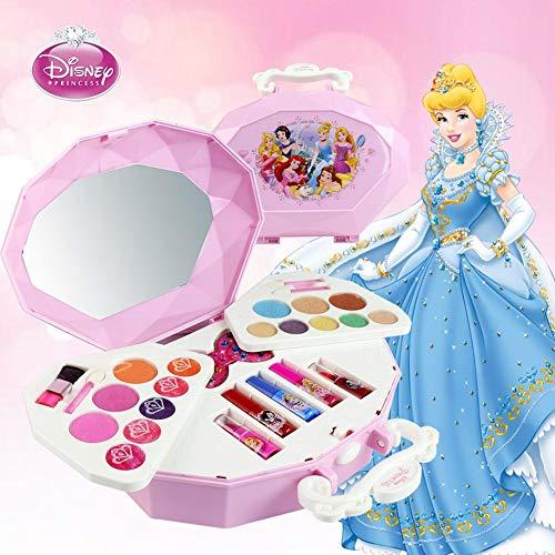 fllyingu Disney Kinder Make-up Set,26 Pcs Cosmetic Kit für Disney Schneewittchen Serie Make-up Spielzeug Ornamente Sicher und ungiftig für Mädchen üben Make-up