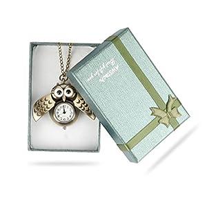 AWStech Lovely Pocket Watch Schön Bronze Silber Tone Eule Quarz Taschenuhr Anhänger mit Länge Kette Halskette, Willkommen Geschenk