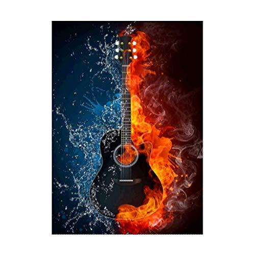Sunnay Diamond Painting, Fußball Feuer 30x40cm 5D Diamant Stickerei Full Drill Phantom Schmetterlinge DIY Dekoration Malerei Kreuzstich Kit (Gitarre Groß, 40 x 50 cm) - E-gitarre Feuer