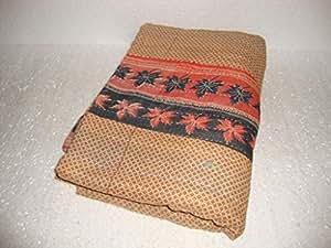 Kantha Couvre-lit Vintage Bohème Indian Jeté de lit réversible en coton faite main Style ethnique Sari en tissu brodé Gudari Couverture de Lit