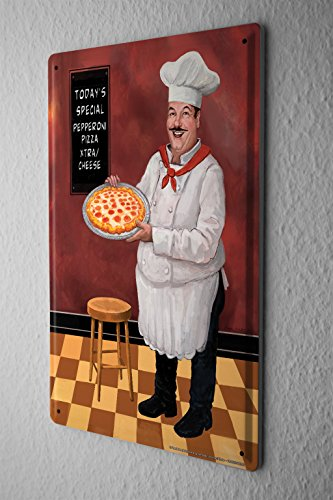 cartel-de-chapa-placa-metal-tin-sign-decoracion-restaurante-de-comida-pizza-chef-barstool-letrero-de