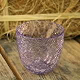 Crackle Tealight Candle Holder Pot - Indigo Purple