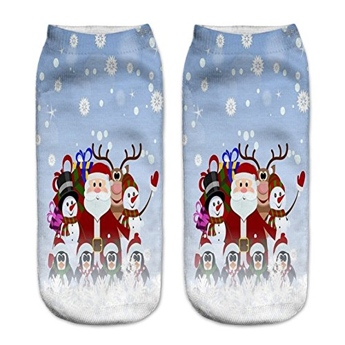 O-C 3D Print Pattern Unisex Stocking Santa Claus Series Expressions Sock (Knee Boots Ballet)