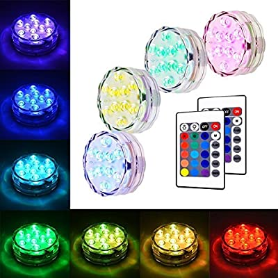 LUNSY Submersible LED Light, RGB Multi Color Waterproof Battery Powered Lights with 10 LED and Remote Controller for Aquarium, Vase, Swimming Pool, Pond, Garden, Party, Weeding, Christmas - 4 Pack