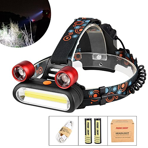 LED Kopflampe, TopTen Fan-Motive 3000 Lumen Ultra Bright 3 LED Scheinwerfer Head Light mit Akku für Camping Jagd Wandern und Outdoor - Light Switch Running