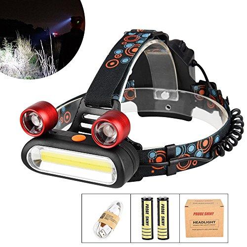 LED Kopflampe, TopTen Fan-Motive 3000Lumen Ultra Bright 3LED Scheinwerfer Head Light mit Akku für Camping Jagd Wandern und Outdoor - Running Light Switch