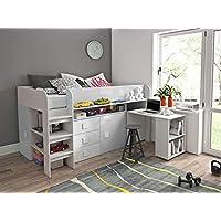 Furnistad Kinderzimmer Komplett EKO | Kinder Halbhochbett mit Schrank, Schreibtisch und Leiter (Weiß + Weiß) preisvergleich bei kinderzimmerdekopreise.eu