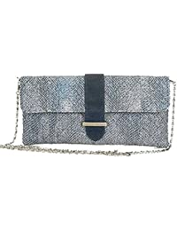 Aryana Chic Navy Blue Tweed Chain Strap Clutch Style Womens Purse