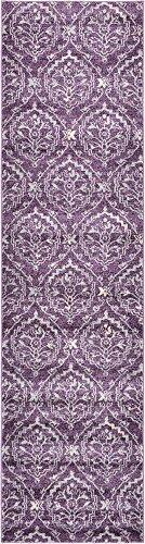 Paese moderno geometrico damascato moderno tappeto, Polipropilene, Purple, 2.5 x 9