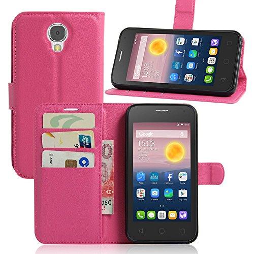 Tasche für Alcatel Pixi 4 (5.0 zoll) 5010D 3G Version Hülle, Ycloud PU Ledertasche Flip Cover Wallet Case Handyhülle mit Stand Function Credit Card Slots Bookstyle Purse Design Rose Red