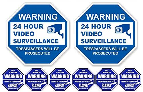 5,1cm 24Stunde Video Surveillance PVC Schilder (22,9x 22,9cm) mit 6Security Alarm System Aufkleber (7,6x 7,6cm); Weiß & Blau Adt Alarm