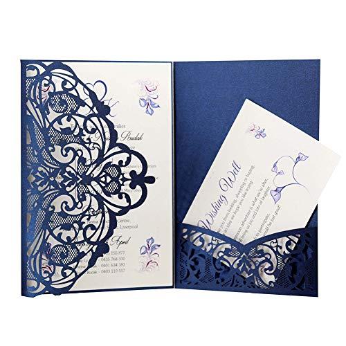 10 Stück europäische Drucke Hochzeit leicht Geburtstag Perlglanzpapier Festival dreifach gefaltet Spitze Einladung Party Elegant, blau, Free Size ()