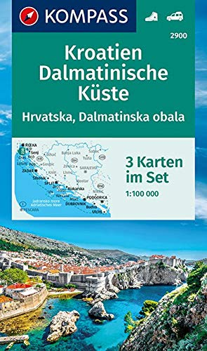 KOMPASS Wanderkarte Kroatien, Dalmatinische Küste: 3 Wanderkarten 1:100000 im Set (KOMPASS-Wanderkarten, Band 2900)
