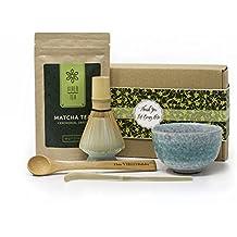Set Regalo Para El Té Verde Matcha | 50 G Uji ceremonia polvo Kit de preparación de té Matcha para principiantes | con el té en | batidor de bamboo con soporte | 1 x MATCHA taza Chawan | 2 x cucharas de bambú ecológica | par Vire