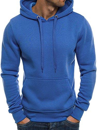 OZONEE Herren Sweatshirt Hoodie Sweatjacke Kapuzenpullover J.STYLE 2009 BLAU L (Hoodie Blau)