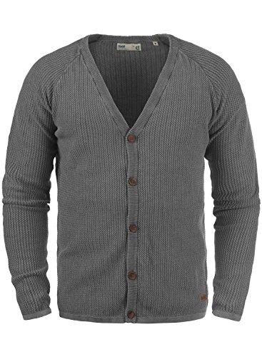 SOLID Tebi Herren Strickjacke Cardigan Grobstrick mit V-Ausschnitt und Knopfleiste aus 100% Baumwolle Meliert, Größe:XXL, Farbe:Grey Melange (8236)