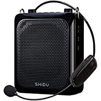 Amplificador de voz inalámbrico portátil (25W), Altavoz amplificado Bluetooth más potente SHIDU 2000mAh Sistemas PA recargables con micrófono inalámbrico UHF ajustable para profesores / entrenadores / Guías de viaje / Instructor de yoga y más (Negro)