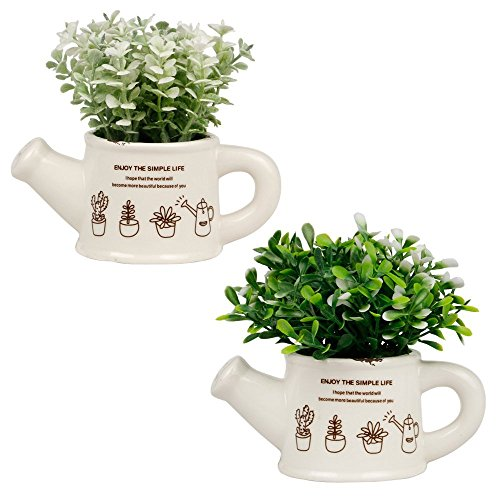Mini-Kunstpflanze mit Topf Kunst Gefälschte Pflanzen Indoor Outdoor Hausgarten Büro Dekor, 2er Set (Kleine Jungs-wand-dekor)