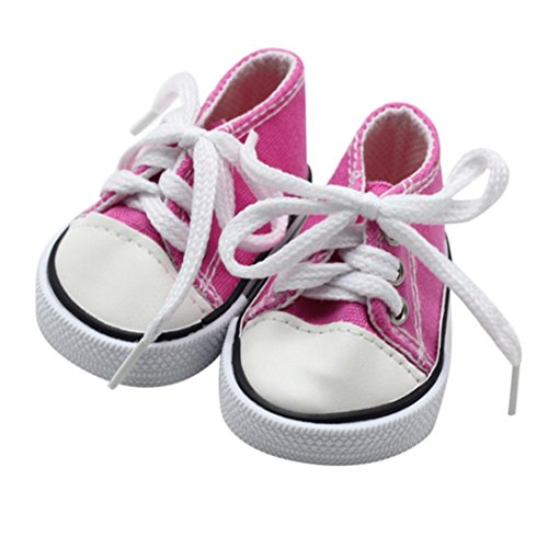 Mingfa 18 Inch Doll Shoes Canvas Lace Up Sneakers Doll Accessories for Our Generation American Girl Boy Doll (hot pink)