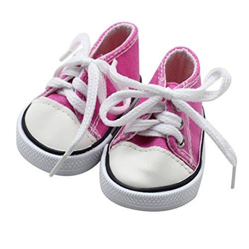Mingfa Puppenschuhe, Sneakers zum Schnüren aus Leinen, für 45,7-cm-Puppen (18 Zoll), z.B. Our Generation, American - Madame 18 Alexander Puppe