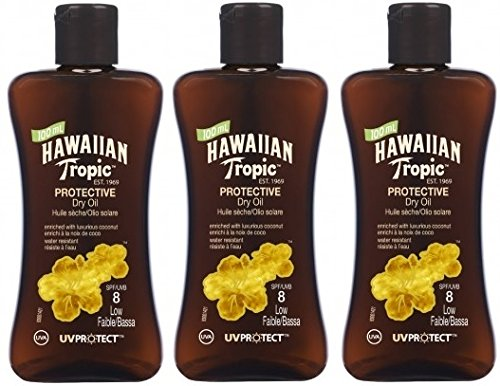 3-x-100ml-hawaiian-tropic-protective-dry-oil-spf-8-low-factor-travel-size
