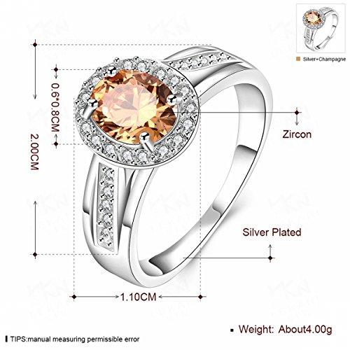 Thumby kristall Diamant Ornamente Frauen Ringe Mode Zirkon Silber Schmuck orange 8 (Orange Diamant-ringe Für Frauen)