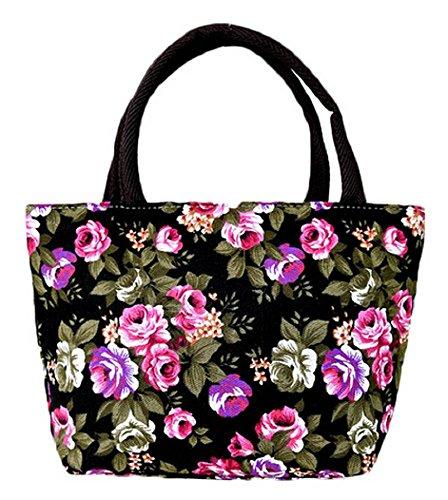 Inception Pro Infinite (Schwarz) - Handtasche - Stoff - Blumen - Rosen - Frauen - Reißverschluss -...