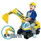Best For Kids Sitzbagger mit zwei Schaufeln in gelb + Helm