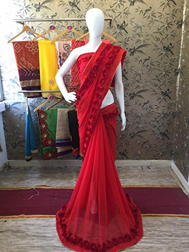 Reeva Trendz Women's Faux Crepe Saree With Blouse Piece (Red_Red)
