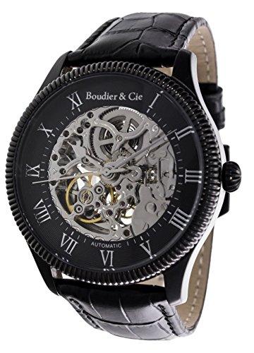Boudier & Cie Herren Dignatio Skeleton Collection Automatik Armbanduhr mit skelettieretem Zifferblatt und offener Unruh - Analoge Anzeige - Echtlederarmband Gehäuse aus Edelstahl Größe XL - CO13H16