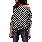 Epig Lady Shirts, Damenmode Zebra Striped Print Tops Sexy Schulterfrei Blusen Lose Langarm Tunika Tops