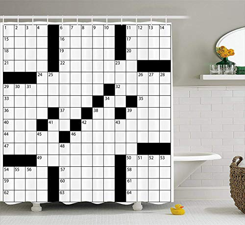ADAM MARTINEZ JR Word Search Puzzle Shower Curtain, Blank Newspaper Style Crossword Puzzle with Numbers in Word Grid, Fabric Bathroom Decor Set with Hooks, 70 Inches, Black and White Adams Grid