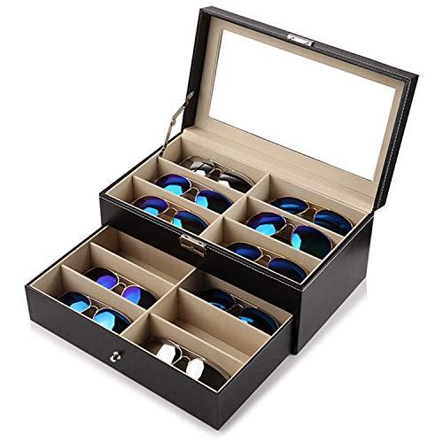 Großer Kunstleder Sonnenbrillen Aufbewahrung Organizer Kasten mit 12 Fächern, Schloss und Schlüssel von Kurtzy - Brillenbox, Brillenhalter - Schwarze Gefütterte Brillen-Display Box mit Durchsichtigem