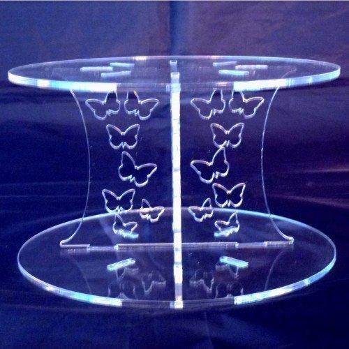 Zwei Ebenen klar Acryl Runde Schmetterlinge Hochzeit und Party Cake Ständer 25cm, 30cm. Gesamthöhe 24cm Acryl-schmetterling-kuchen-stand